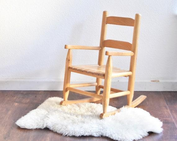 vintage children's wooden rocking chair / baby nursery rocker / kid's bedroom