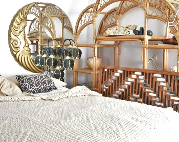pompom full size white crochet afghan blanket / boho baby girl bedroom decor