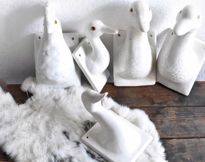 solid white ceramic duck head wall display towel rack / baby's nursery decor