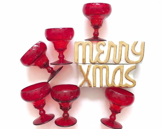 red glass goblet set | Christmas wine drinking glasses