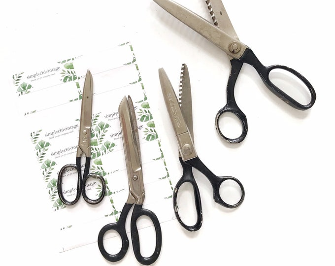 old vintage metal retro 1960s black industrial school office scissors / single pair