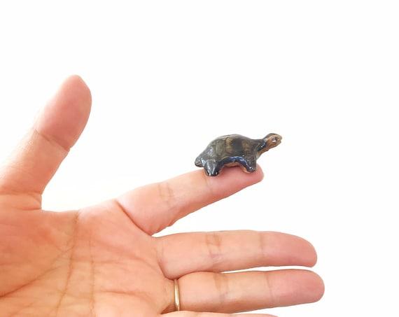 tiny miniature brown ceramic turtle figurine / tortoise garden terrarium statue
