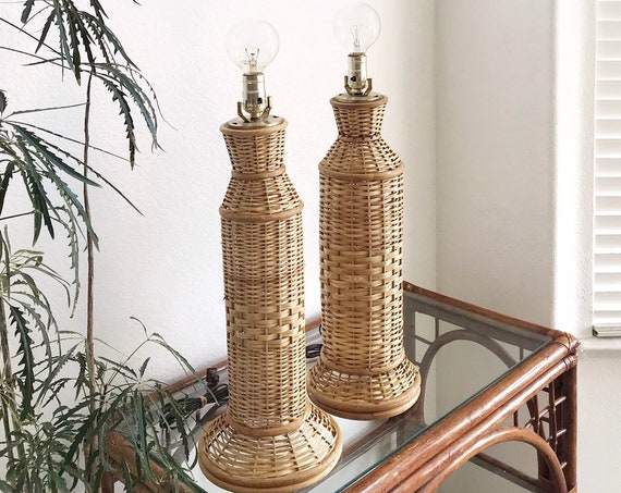 matching set of 2 boho mid century modern woven bamboo rattan wicker table lamp / accent lighting