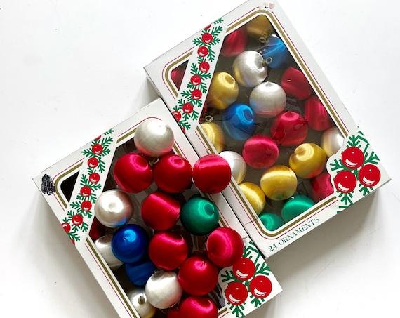 colorful rainbow satin unbreakable christmas ball ornament set