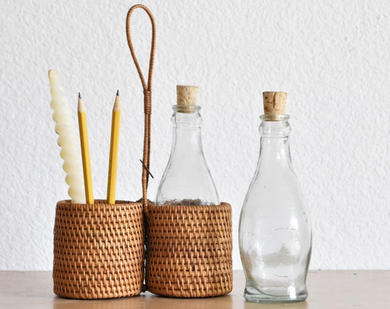 set of 2 woven wicker rattan glass vase baskets | vinager oil jar containers