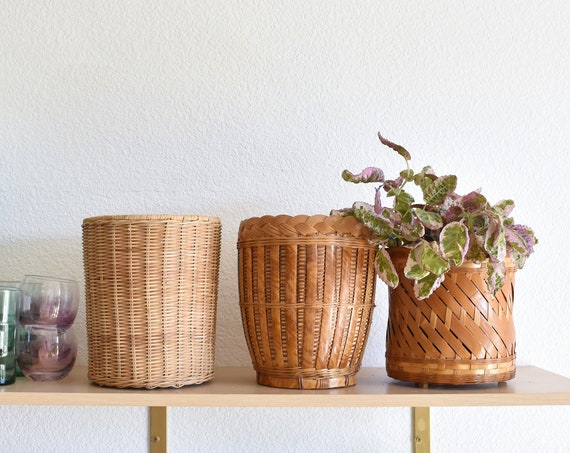 vintage set of 3 woven rattan wicker basket planters | garden decor