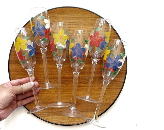 set of hand painted french flute champagne glass stemware / floral flowers