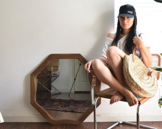 large solid wood octagon wall hanging mirror / geometric framed mirror