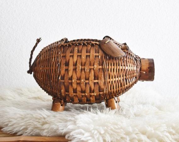 mid century woven bamboo rattan pig basket figurine | baby nursery storage box