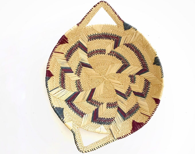 tribal purple blue woven straw coiled basket | tribal wall decor | african