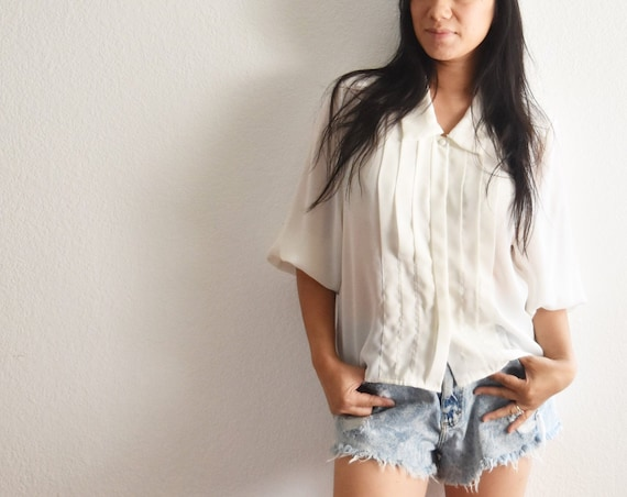 women's vintage loose sheer white button up secretary shirt blouse
