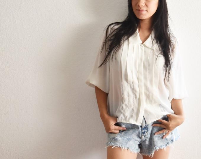 women's vintage loose sheer white button up secretary shirt blouse