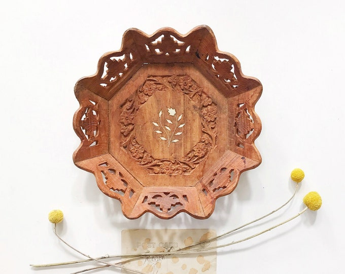 mid century hand carved wooden trivet tray with floral carvings