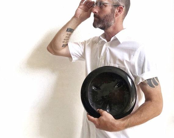 large vintage shallow black ceramic planter flower pot | orb vase