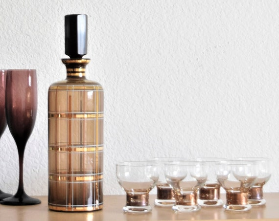classic mid century modern black gold checkered decanter cocktail glass set / striped plaid shot glass set
