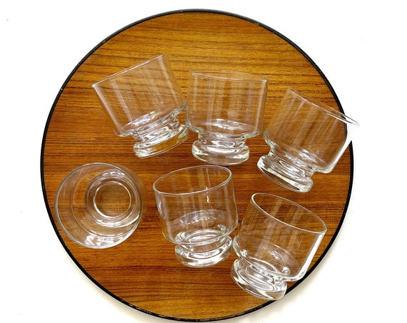set of 6 clear chunky short stemware glass tumblers / gift barware