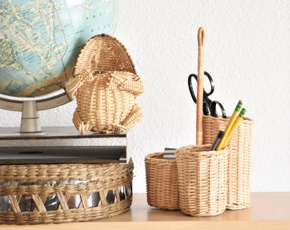 woven wicker office supply storage with handle / pencil holder