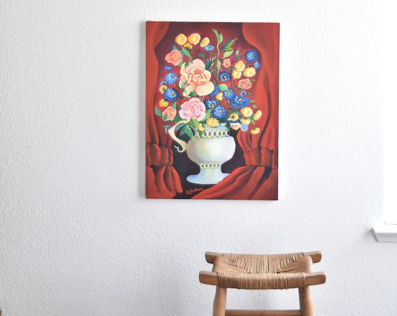 original vintage multicolored flower rose bouquet painting / red