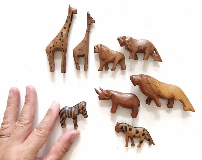 miniature hand carved african safari animal figurines   zoo mini sculptures