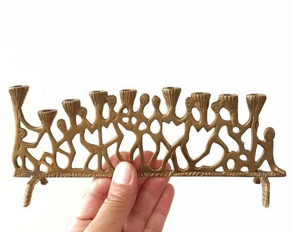 unique ornate solid brass tapered candelabra menorah / statement candlestick candleholder