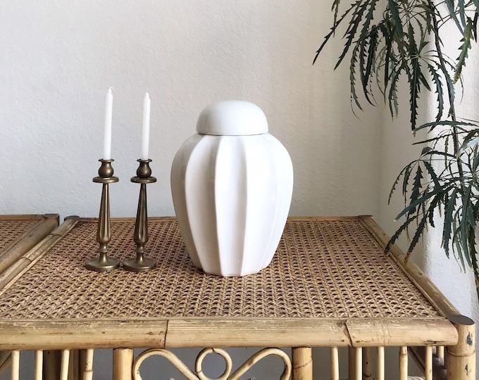 white ceramic ginger jar with lid | housewarming gift