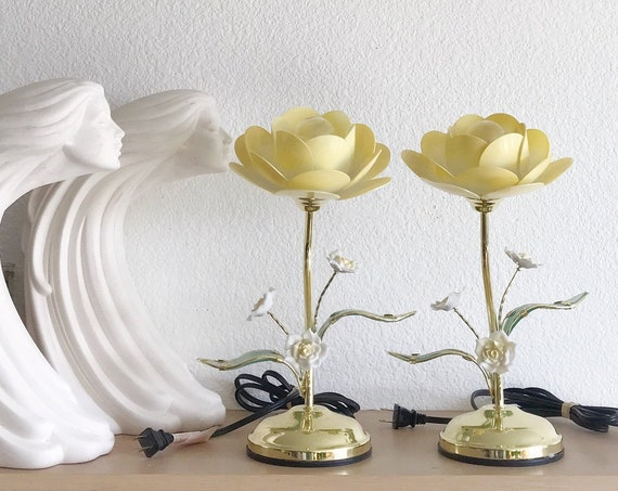 Set of touch gold metal flower touch lamps