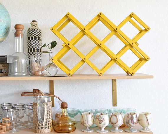 mid century yellow folding accordion wood wine bottle rack / wine holder / barware