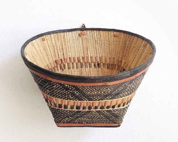 large woven tribal african leather hanging basket