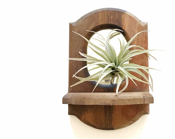 mid century carved wooden bohemian wall hanging mirror planter / wall shelf
