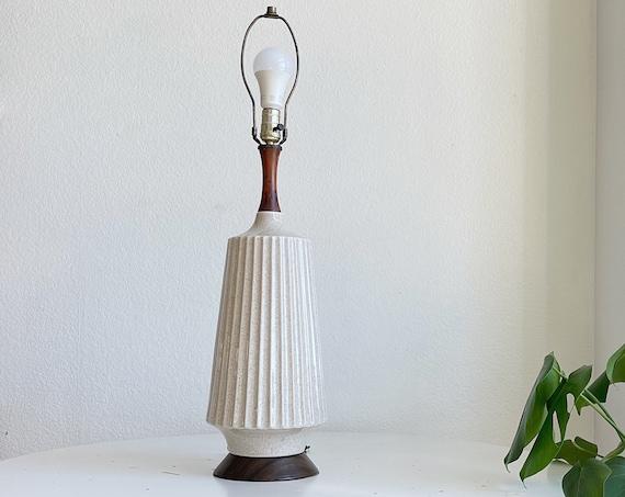 tall mid century modern danish scandinavian wood ceramic table lamp / accent lamp