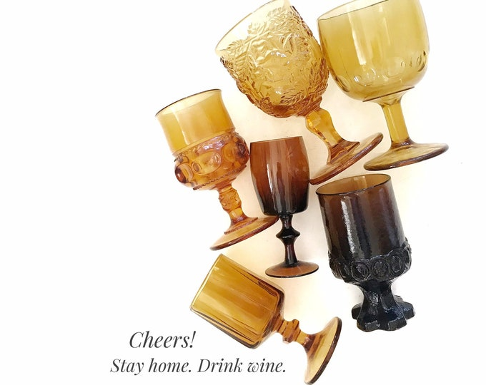 mix collection of brown amber glass dessert goblets / wine goblet set