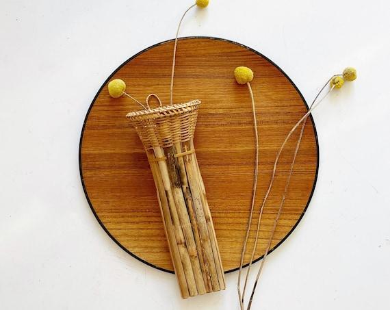 woven rattan wall hanging basket with pocket planter | flower vase