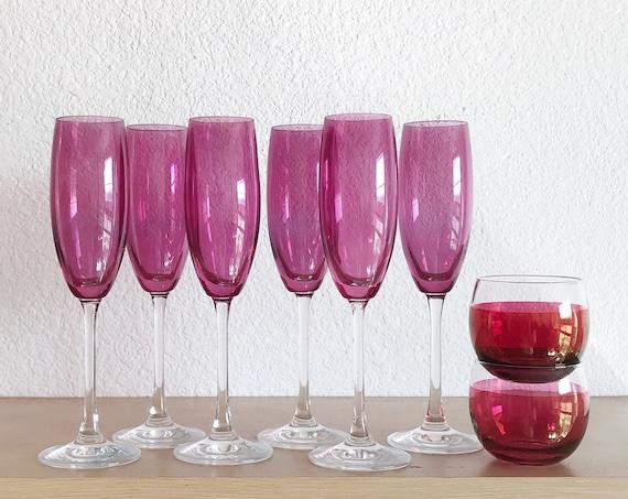 set of 6 ruby pink flutes stemware champagne glasses / housewarming gift barware