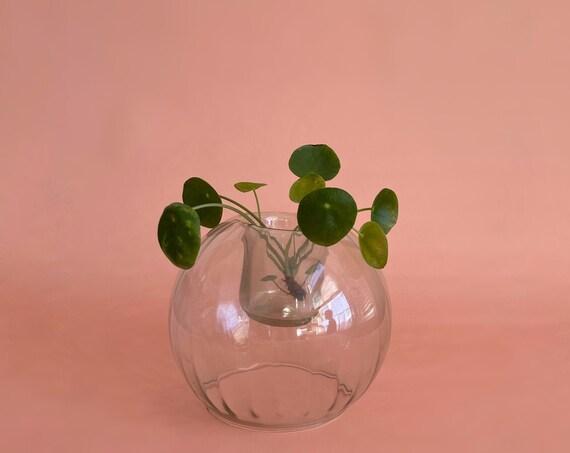 vintage votive clear glass ball candleholder vase