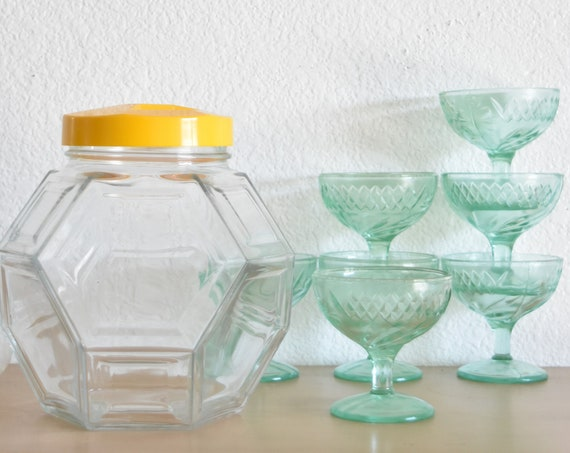 geometric glass jar with lid / octagon shaped cookie jar canister container
