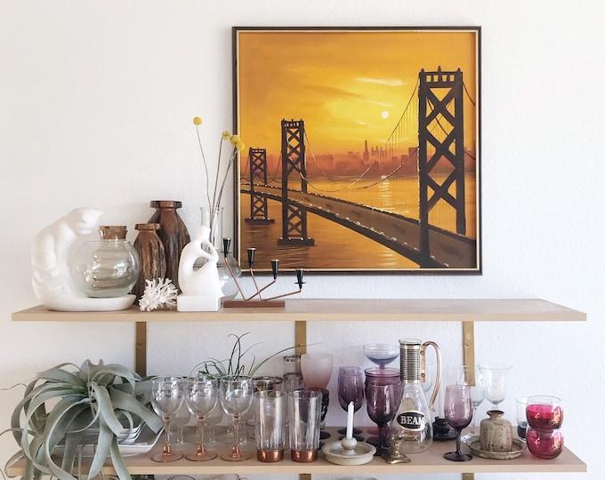 framed mid century modern San Francisco Oakland bridge painting