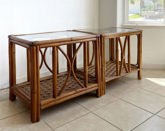 mid century modern woven bamboo rattan side tables | chinoiserie style home furniture
