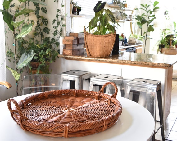 extra large woven wicker french farmhouse basket serving tray