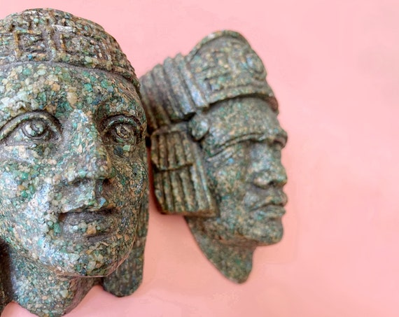 pair of heavy carved wall hanging Aztec Indian god man woman face mask sculpture | tribal art