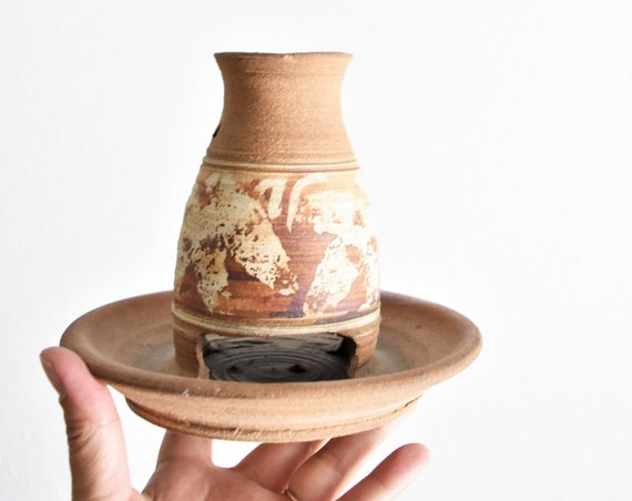 hand thrown stoneware pottery bird feeder | votive candleholder