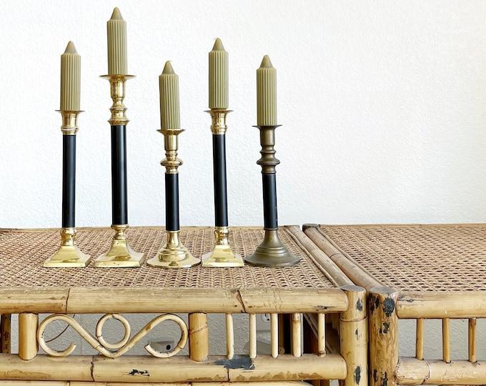 vintage ornate black brass candle holders / set of 5 Christmas candlestick holders