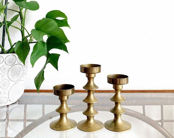 vintage ornate solid brass tea light votive candle holders / set of 3 candlestick holders