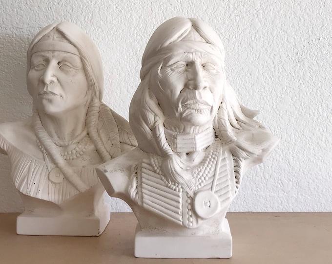 native american indian ceramic chief figurine statue | man bust sculpture | modern tribal home decor