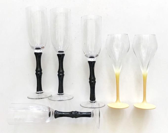 set of 4 black high stemware flute champagne glasses / faux bamboo style / barware housewarming wedding gift