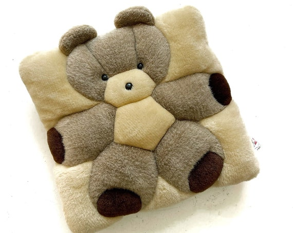 1990's small fuzzy teddy bear square pillow cushion | decorative toss pillow toy