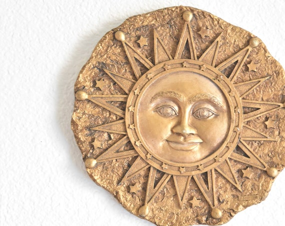 whimsical wall hanging celestial sun garden plaque / sunshine rock stone sculpture