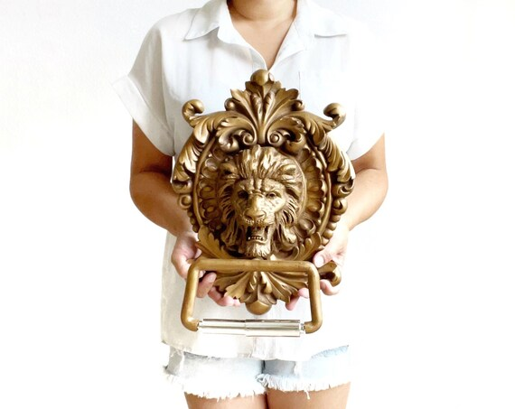 large gold gaudy lion head toilet paper holder   bathroom decor