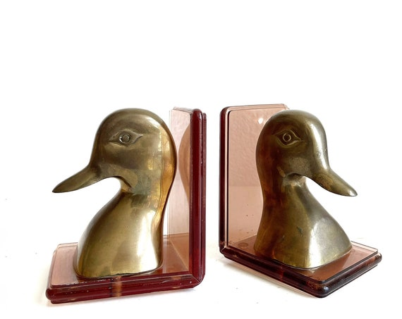 set of 2 solid brass mid century regal duck head office bookends