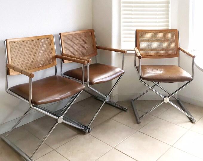 marcel breuer mid century modern metal bamboo rattan cane arm chair