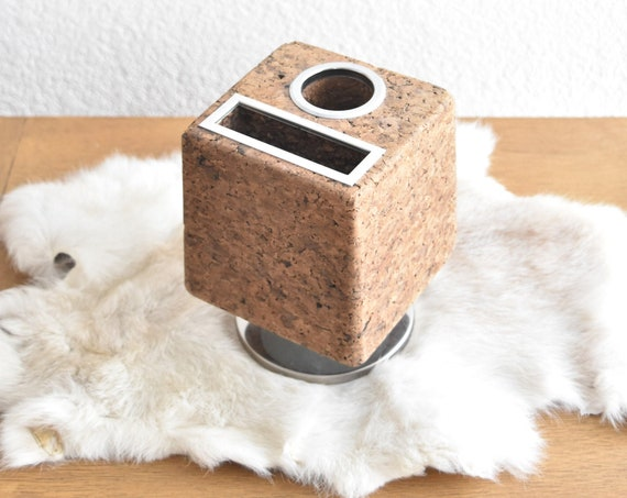 vintage mid century cork pencil holder / cork memo ball / office supplies